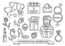 Line icons set for International Womens Day. 8th March. Womens Day symbols collection. Vector illustration royalty free illustration
