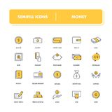 Line icons set. Money. Pack. Vector illustration for finance, banking and transactions Royalty Free Stock Photo