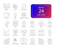 Line icons set. Money pack. Vector illustration Stock Image