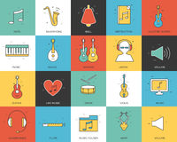 Line icons set of music collection concept. Modern vector pictogram with flat design elements design. Stock Photos