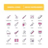 Line icons set. Musical instrumental. Pack. Vector illustration for musical store and shop Stock Photos