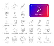 Line icons set. Party pack. Vector illustration royalty free illustration
