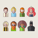 Line icons set. People. Royalty Free Stock Photos