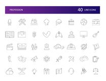 Line icons set. Profession pack. Royalty Free Stock Photos
