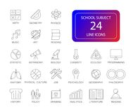 Free Line Icons Set. School Subject Pack. Stock Photo - 108429940