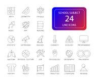 Line icons set. School subject pack. Vector illustration stock illustration