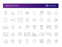 Line icons set. Shopping and Sale pack. Vector illustration royalty free illustration