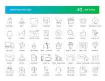 Line icons set. Shopping and Sale pack. Vector illustration Royalty Free Stock Image