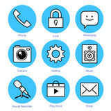 Line icons set. Smartphone Royalty Free Stock Photos