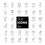 Line icons set. Stationery Stock Photo