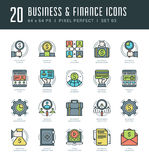 Line icons set. Trendy Modern flat thin linear stroke vector Business and Finance concept. For website graphics, Mobile Apps, Infographics design, Brochures Royalty Free Stock Photography