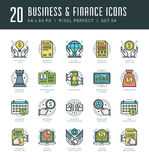Line icons set. Trendy Modern flat thin linear stroke vector Business and Finance concept. For website graphics, Mobile Apps, Infographics design, Brochures Royalty Free Stock Photo