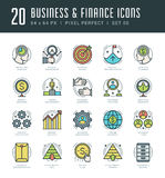 Line icons set. Trendy Modern flat thin linear stroke vector Business and Finance concept. For website graphics, Mobile Apps, Infographics design, Brochures Stock Photography