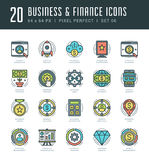 Line icons set. Trendy Modern flat thin linear stroke vector Business and Finance concept. Royalty Free Stock Photos