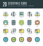 Line icons set. Trendy Modern Flat thin linear stroke vector Essentials Objects concept. Royalty Free Stock Image