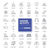 Line icons set. Winter activity. Pack. Vector illustration for activity life, health care and sport in winter time Royalty Free Stock Images
