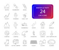 Line icons set. Winter Activity pack. Vector illustration Royalty Free Stock Image