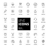 Line icons set. Workplace Stock Images