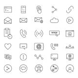 30 Line Icons Of Social. Set of 30 line social icons. Icons for user interface, business Stock Photo