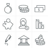 Line Icons Style banking icons. Line Icons Style banking  icons set vector design template Royalty Free Stock Photos