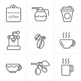 Line Icons Style Coffee icons with White Background.  Royalty Free Stock Photo