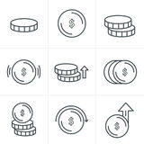 Line Icons Style Coins Icons Set Stock Photos