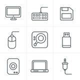 Line Icons Style Computer Icons Set Stock Image