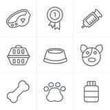 Line Icons Style Dog Icons Set Stock Images