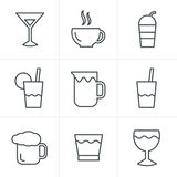 Line Icons Style  Drink  Icons Set, Vector Design Royalty Free Stock Photo