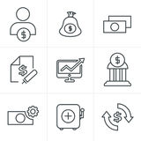 Line Icons Style  Finance icon set. Vector Stock Image