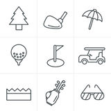 Line Icons Style golf  Icons Set Royalty Free Stock Photos