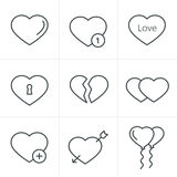 Line Icons Style hearts  Icons Set Royalty Free Stock Photos