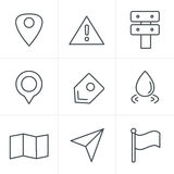 Line Icons Style Map icons on white background. Royalty Free Stock Photo