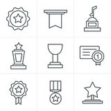 Line Icons Style Medals icons. Set Royalty Free Stock Image