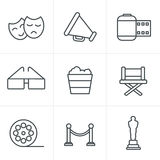 Line Icons Style Movie Icons Vector design Royalty Free Stock Photos