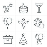 Line Icons Style party Icons Set Stock Photos