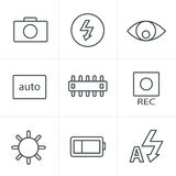 Line Icons Style Photography icons Royalty Free Stock Photos