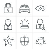 Line Icons Style Security icon set. On white background Royalty Free Stock Photo