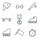 Line Icons Style  Set of monochromatic simple sports. Icons Royalty Free Stock Image