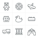 Line Icons Style  Toys Icons Royalty Free Stock Images