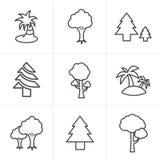 Line Icons Style Tree Icons Set. Vector Design Stock Photo