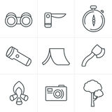 Line Icons Style vector black camping theme set Stock Photo