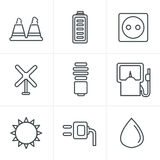 Line Icons Style  vector black eco energy icons Stock Photography