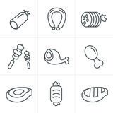 Line Icons Style vector black Royalty Free Stock Image