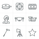 Line Icons Style vector black Stock Photos