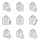 Line Icons Style  Vector isolated clipboard. List icons set Stock Photography