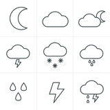 Line Icons Style Weather icons Stock Photos