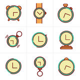 Line Icons Time Clock Icons Set, Vector Design Royalty Free Stock Image
