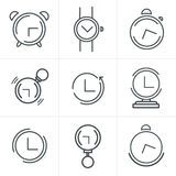 Line Icons Time Clock Icons Set, Vector Design Stock Images
