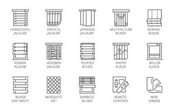 15 line icons of various designs of curtains, blinds, jalousie, mosquito nets and remote control. Vector labels isolated. 15 line icons of various designs of Royalty Free Illustration